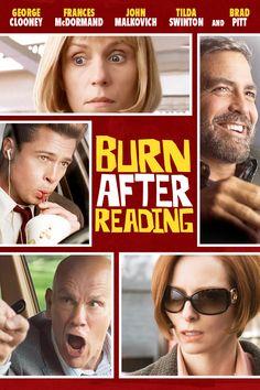 Burn After Reading (2008) | directed by Ethan Coen, Joel Coen | starring George Clooney, Frances McDormand, John Malkovich, Tilda Swinton, and Brad Pitt / Great Movie w some twists
