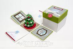 Explosionsbox mit Weihnachtsbaum, hergestellt mit Stampin'Up