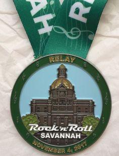2017 Savannah Georgia Rock n Roll Relay Half Marathon Run Finisher's Medal
