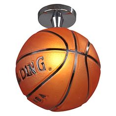 A Spalding basketball ceiling light fixture. I want this!!!!