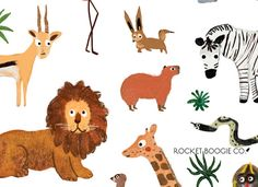Wild & Free 🦁 This is an art print of a collection of safari animals hand painted by Rocket Boogie Co. These art prints are packaged in a clear sleeve with a rigid backing. Make sure to check out our Safari Animals Sticker Sheet here: Jungle Safari, Jungle Animals, Animal Posters, Wild And Free, Cool Designs, Hand Painted, Art Prints, Illustration, Pattern