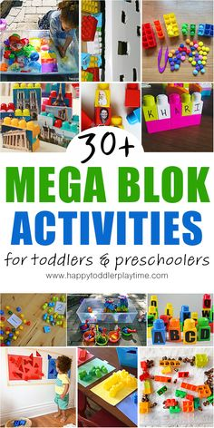 30 amazing and super easy learning activities and fun ideas to keep toddlers and preschoolers busy indoors using Mega Bloks! Fun Indoor Activities, Infant Activities, Preschool Activities, Family Activities, Creative Activities, Creative Play, Therapy Activities, Play Based Learning, Learning Through Play