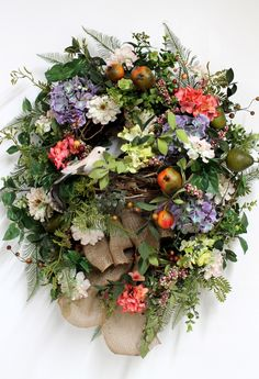 Front Door Wreath, Spring Wreath, Summer Wreath, Country Wreath, Pomegranates, Great for Country Decor