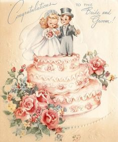 Vintage Forget-Me-Not Greeting Card Wedding Pink Roses Cake Bride Groom Vintage Wedding Cards, Vintage Greeting Cards, Vintage Bridal, Vintage Postcards, Wedding Wishes Quotes, Wedding Anniversary Message, Decoupage, Best Wishes Card, Wedding Congratulations Card
