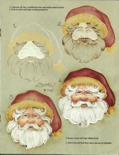 How to paint a Santa face. This is a Jeanne Zawicki pattern from decorative painting. Santa Paintings, Christmas Paintings, Christmas Art, Christmas Projects, Holiday Crafts, Father Christmas, Arte Country, Pintura Country, One Stroke Painting