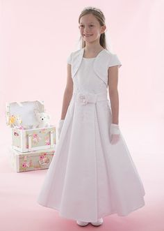 2016 Linzi Jay Communion Dress - Giselle - Satin Beaded Dress Large Flower on Waist First Communion Dress - Girls Communion Dress Shop Ascot