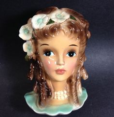 Enesco Teen Lady Head Vase w Loads of Sausage Curls