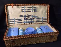 Vintage Retro 1960s 6 Person Blue Bandalasta Coracle Picnic Set Basket Hamper