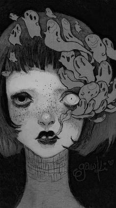 Dark Drawings, Cool Art Drawings, Arte Grunge, Goth Wallpaper, Art Prompts, Gothic Anime, Cute Patterns Wallpaper, Cybergoth, Dark Anime