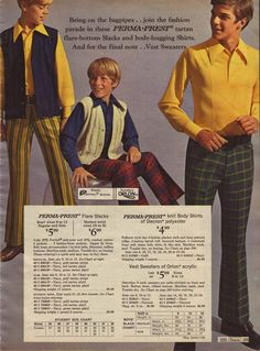 Young fashion from 1969 - note the long collars, soft waistcoats/vests and the appearance of flares. (Charles costume research)