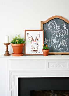 Before and After of a Wood Burning Insert Fireplace Makeover using high heat spray paint. The wood burning insert fireplace makeover truly shines. Exterior Gray Paint, Grey Paint, Wood Burning Insert, Happy Easter Bunny, Watercolor Plants, Velvet Pumpkins, Framed Chalkboard, Container Flowers, Done With You