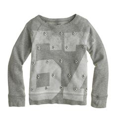 Girls' #67 jeweled sweatshirt - sweatshirts - Girls' knits & tees - J.Crew