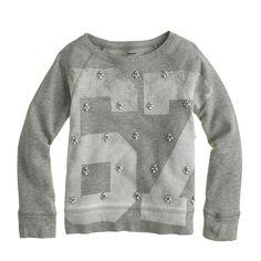 Girls' #67 jeweled sweatshirt - sweatshirts - Girls' knits & tees - J.Crew