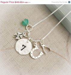 Black Friday Sale Lucky Charm Necklace Hand by TracyTayanDesigns, $38.90