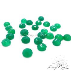 2 pcs 6mm AAA Natural Green Onyx Round Shape Cabochon by AoryNL