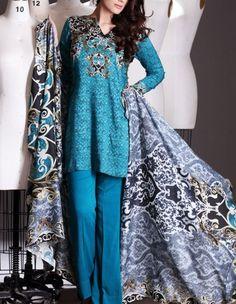 Buy Blue Printed Viscose Linen Dress by Nishat 2015.