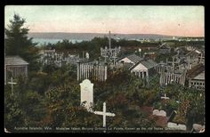 Madeline Island Postcard Wisconsin Old Indian Graveyard Gravehouses PC