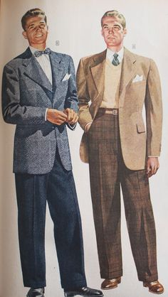Detailed mens fashion history for everyday man. Business suits zoot suits casual and sport clothes work clothing shoes hats and more. 1940s Mens Fashion, Vintage Fashion, Style Casual, Men Casual, Men's Style, Style Vintage Hommes, 40s Mode, Sport Outfits, Casual Outfits