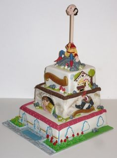 Different fairy tales on a cake inspired bij a dutch fairytales themepark By freubelmuisje on CakeCentral.com