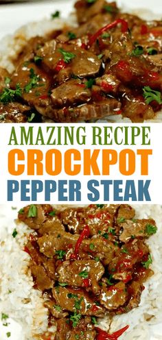 EASY CROCKPOT PEPPER STEAK RECIPE Need an easy crock pot recipe? This Crockpot Pepper Steak Recipe is delicious! Easy pepper steak recipe is simple to make. Crockpot Steak Recipes, Chuck Steak Recipes, Stew Meat Recipes, Cooker Recipes, Steak Meals, Delicious Crockpot Recipes, Dinner Crockpot, Pepper Steak Recipe Easy, Crockpot Pepper Steak