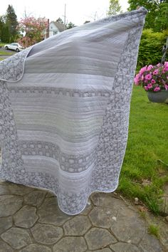 Modern Cottage Chic Hipster Gray and White by TrueloveQuiltsForYou