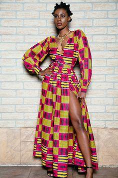 Robe portefeuille imprimé africain par ofuure sur Etsy