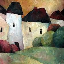 The Old Village von Jeremy Mayes – Kunstdruck von King & McGaw Building Painting, Art Et Illustration, Naive Art, Landscape Art, Painting Inspiration, Framed Art Prints, Painting & Drawing, Amazing Art, Watercolor Paintings