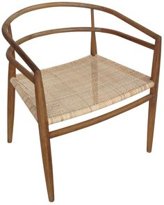 Noir Finley Chair With Rattan Teak