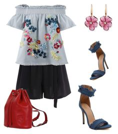 """""""denim and floral summer outfit"""" by jennross76 ❤ liked on Polyvore featuring Tanya Taylor, Gucci and Rina Limor"""