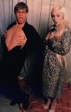 Candid shot of Elton John & Madonna.