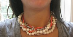 this is four different strands of jewelry, from Micheals, that you just twist together and make a chunky one. You can do whatever color, whatever length and any number of strands to get the thickness you want.