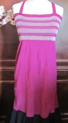 Gap Purple White Smocked Sun Dress XS #Gap #Sundress #SummerBeach