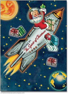 Space Age Santa Christmas Cards - Santa Claus rides a space ship rocket delivering gifts. A fun atomic age style Retro Christmas Card. Vintage Christmas Images, Old Christmas, Vintage Holiday, Christmas Pictures, Christmas Greetings, 1950s Christmas, Modern Christmas, Retro Christmas Decorations, Christmas Stuff