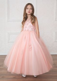 Girls Long Lilac Dress with Floral Appliques by Calla – ABC Fashion Blush Pink Dresses, Lilac Dress, Flower Girl Dresses, Maroon Dress, Burgundy Dress, Gold Dress, Sequin Dress, Pagent Dresses, Fall Dresses