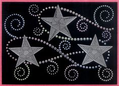 https://flic.kr/p/cw3LAq | silver pasted stars zentangle | Tangles using Dreamweaver Stencils LX7017 Stars which had been pasted using Dreamweaver Stencils silver embossing paste.