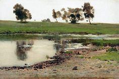 Isaac Levitan (1860 - 1900, Russia) Landscape sketch, 1890's oil on canvas. 34 x 25 cm