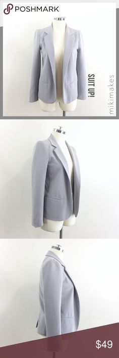 "AQUA • light grey open blazer striped lining • light grey color • 2 front welt pockets • white striped lining to expose when rolling up the sleeves • slight stretch • single back vent • lining has a little pulling at the back seam  61% polyester 34% rayon 6% spandex  ✂️  Bust = 37"" ✂️  Waist = 37"" ✂️  Shoulder = 14.5"" ✂️  Length = 23""  • sorry no trades • please feel free to ask any questions  ❤️,  @mikimakes Aqua Jackets & Coats Blazers"
