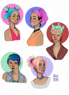 Nymphadora Tonks, in many 90′s inspired hairstyles (specifically inspired by 90′s Gwen Stefani).