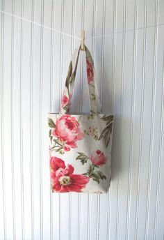Cottage Roses Tote Bag - Spring Garden Book Bag, Shabby Chic Carry All Bag. $34.00, via Etsy.