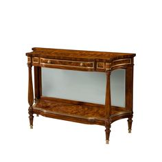 A flame mahogany and Morado banded serpentine credenza, with brass mounts, one frieze drawer, mirror back, on fluted legs and undertier. The original Victorian. 2nd Hand Furniture, Antique Furniture, Theodore Alexander, Luxury Furniture Brands, Sofa Tables, Console Tables, Entryway Tables, Victorian, Mirror