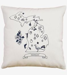 Michigan Print Pillow | Add this Mitten State pillow to your living space for a handma... | Throw Pillows