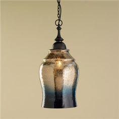 Gold and Indigo Mercury Glass Pendant Light- like a warm sunset sky over water,  golden bronze amber fades into a deep indigo