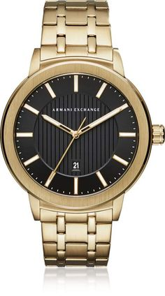 3a471123c4a Armani Exchange Maddox Black Dial and Gold Tone Stainless Steel Men s Watch