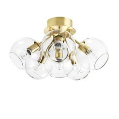 Tage 50 Plafond Mässing/klart glas - CO Bankeryd - Norrmalms Elektrisk Lamp Light, Light Bulb, Room Lamp, Modern Pendant Light, Glass Globe, Spotlights, Chrome Plating, Polished Brass, Pendant Lamp