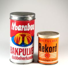 Marabou baking powder – a Swedish classic!  The baking powder from Swedish company Marabou, founded in Malmö and still an active is a real classic. This look with the metallic screw-on-lid was still in shops until late 80's I think. This copy is from my parents' pantry. And somewhere I found a jar from the competetive brand called Rekord from the cooperative company KF.