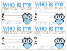 Chubby for too long!: Visiting Teaching Supervisor handout cards *Free*