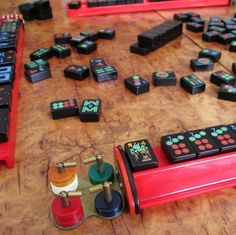 Black mahjong tiles, 1950s, Royal Games.  Add to the tiles, Catalin red racks, and Catalin coins.