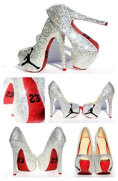 Jordan 23 High Heels covered in Swarovski Crystals with Red glitter soles
