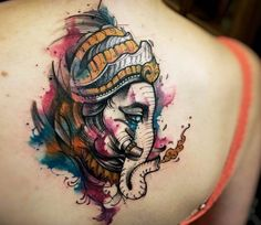 What does ganesha tattoo mean? We have ganesha tattoo ideas, designs, symbolism and we explain the meaning behind the tattoo. Time Tattoos, Funny Tattoos, Sleeve Tattoos, Tatoos, Buddhist Symbol Tattoos, Hindu Tattoos, Buddha Tattoos, Large Tattoos, Trendy Tattoos