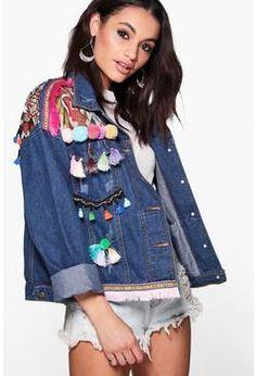 Boutique Lea Embroidered Pom Pom Denim Jacket